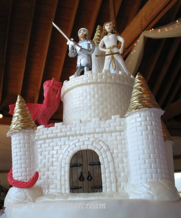 Dragon Castle Cake with Princess and Knight